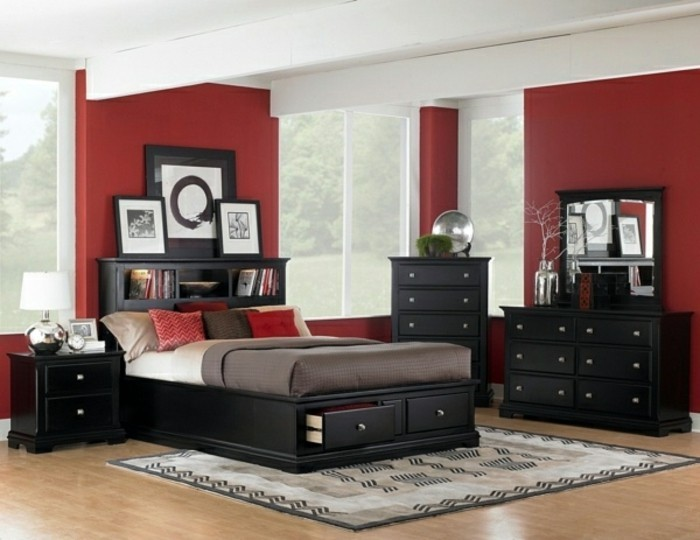 wandgestaltung-mit-farbe-attraktives-modernes-schlafzimmer-rot-und-schwarz-zusammenbringen