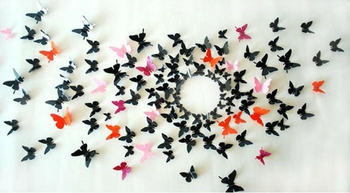 wandgestaltung-mit-farbe-unikale-gestaltung-kleine-bunte-vögel-aus-papier