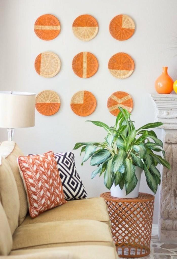 wandgestaltung-selber-machen-neun-schöne-runde-figuren-in-orange