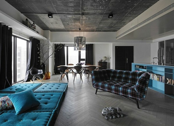 ... designer wohnzimmer -interessantes sofa in blau und dunkel braun