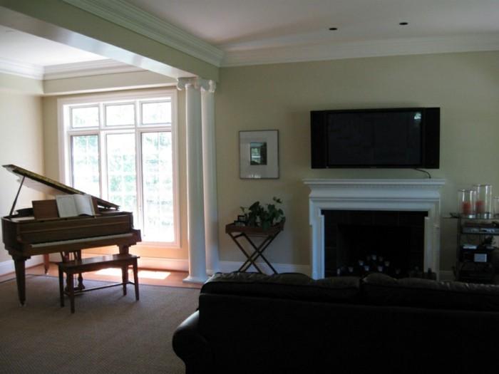 Wohnzimmer Kamin Fernseher: Minimalistischer Wohnraum Mit .