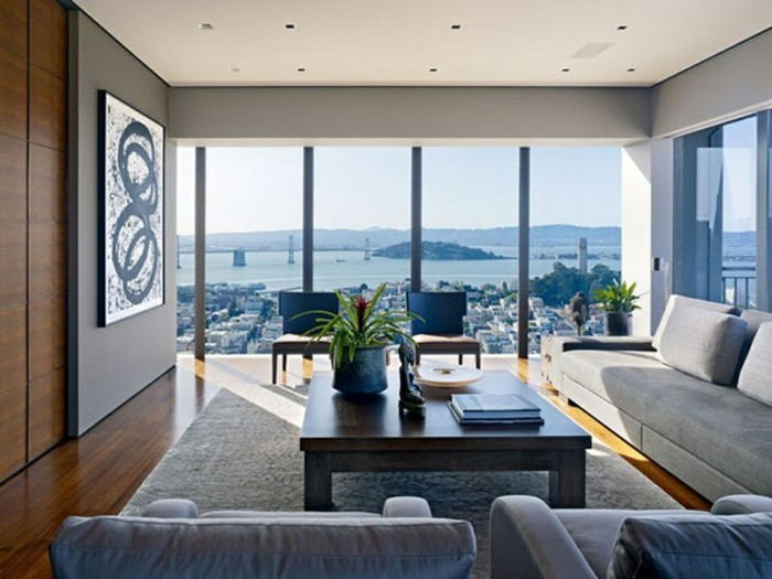 Wohnzimmer Einrichtung Unikale Gestaltung Große Glaswände