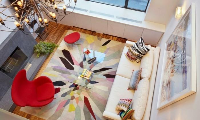 wohnzimmer-renovieren-foto-von-oben-genommen-roter-sessel