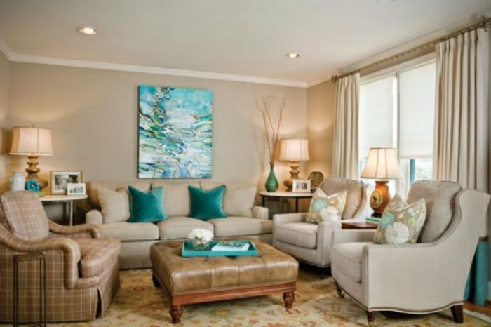 wohnzimmerwand-ideen-blaues-bild-sn-der-wand-moderne-möbel