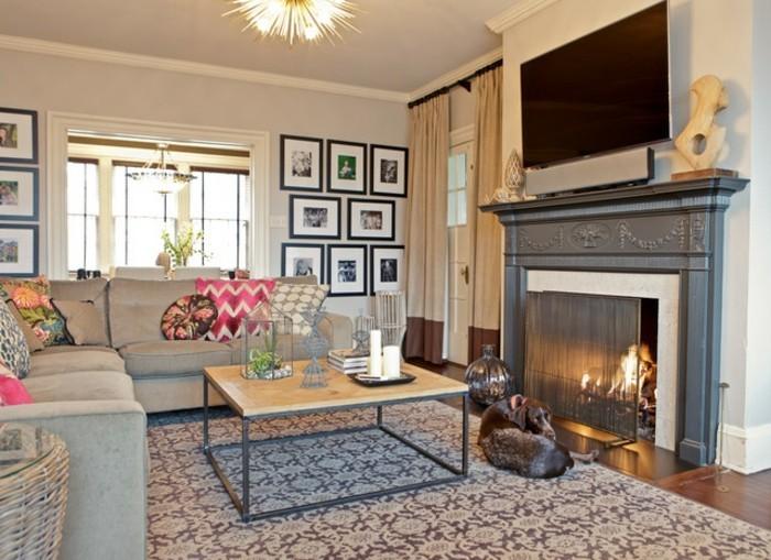 Wohnzimmerwand Ideen Viele Bilder Und Großer Fernseher