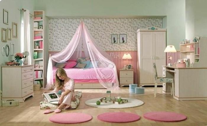 zimmer-dekorieren-tipps-modernes-madchenzimmer-mit-einem-prinzessinbett