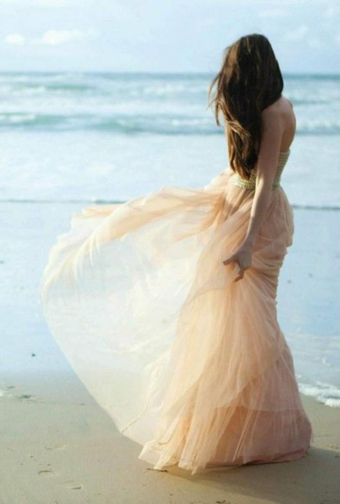 Brautkleid-in-Rosa -strand-hochzeitstag