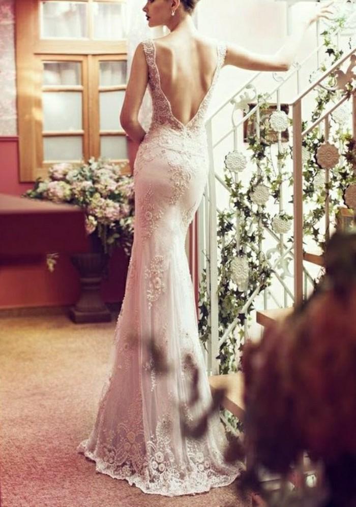 hinten V-Ausschnit Modell rosa Brautkleid elegant mit Spitze