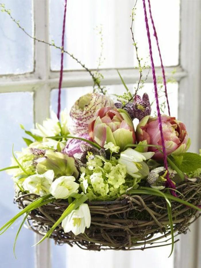 Deko Fur Hohe Fenster : frische Frühlingsblumen  Fensterdecko basteln