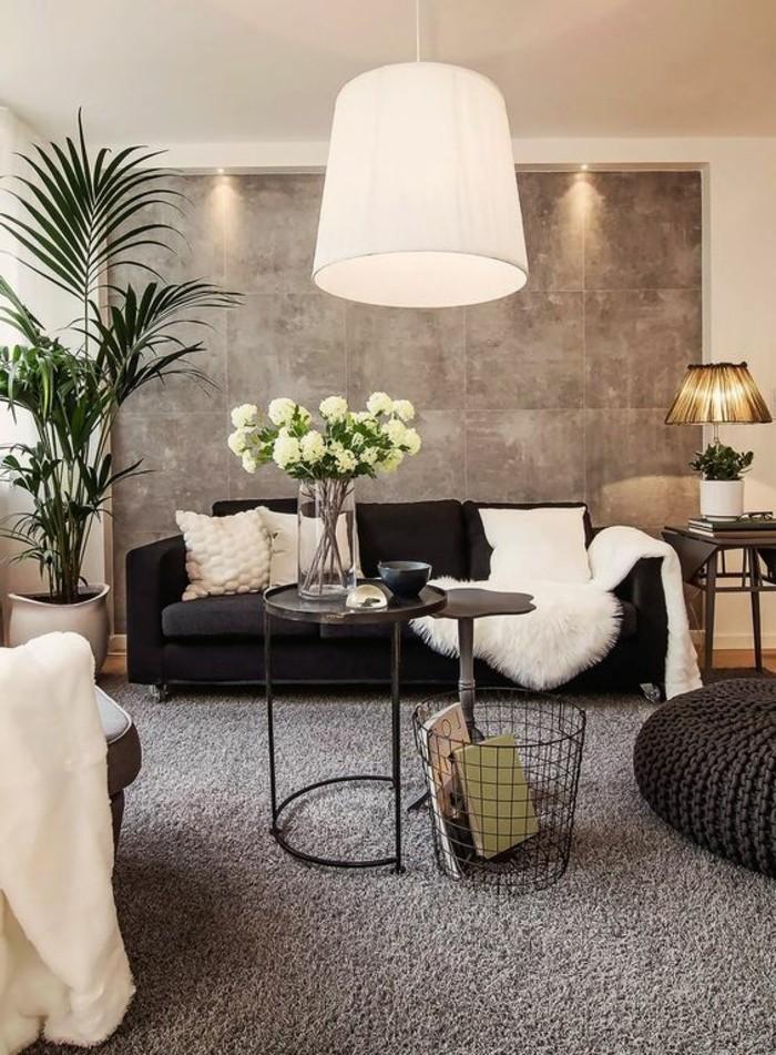 Design-Wohnzimmer-blumendeko-große-hängelampe