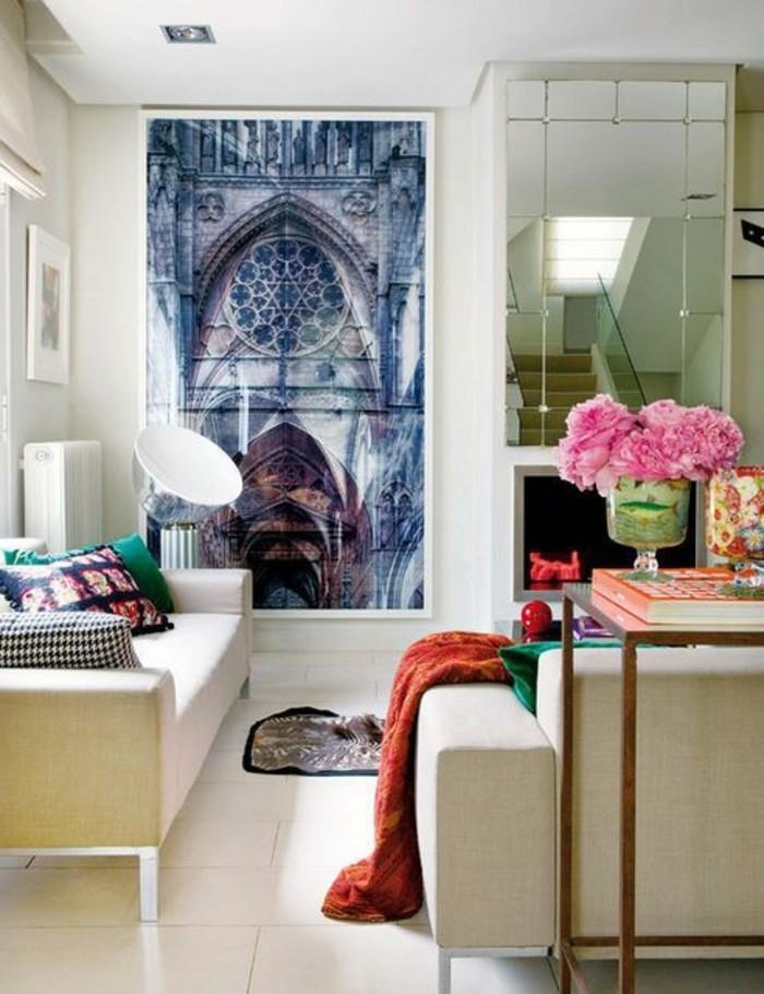 wohnzimmer modern kunstwerke marmor couchtisch pendelleuchten