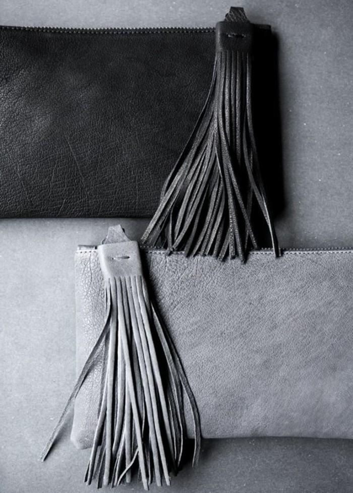 Designer-Clutch-mit-Fransen-in-Grau-und-Schwarz