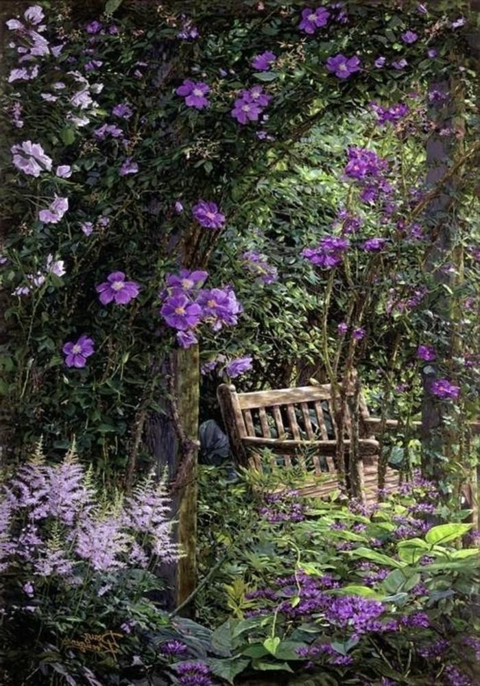 Garten-schlichte-Bank-umgeben-von-Lavender