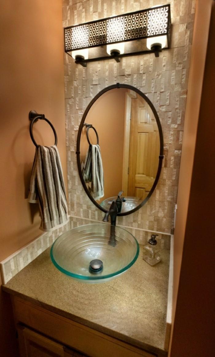 Glas-Waschbecken-oval-spiegel
