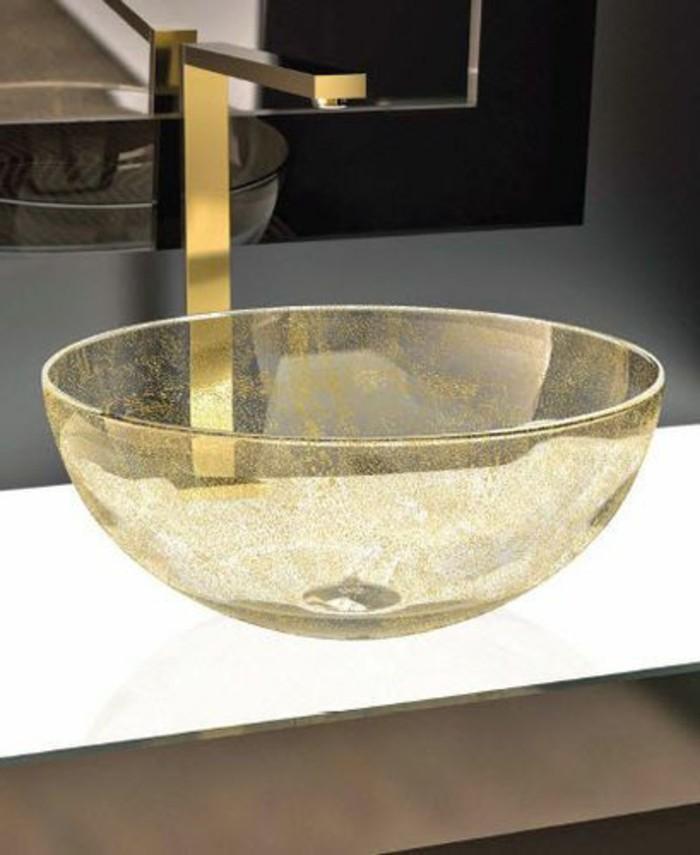 Glas-waschbecken-gelb