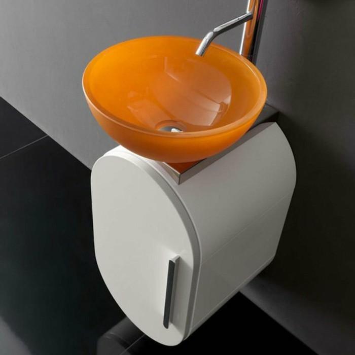 Glas-waschbecken-orange