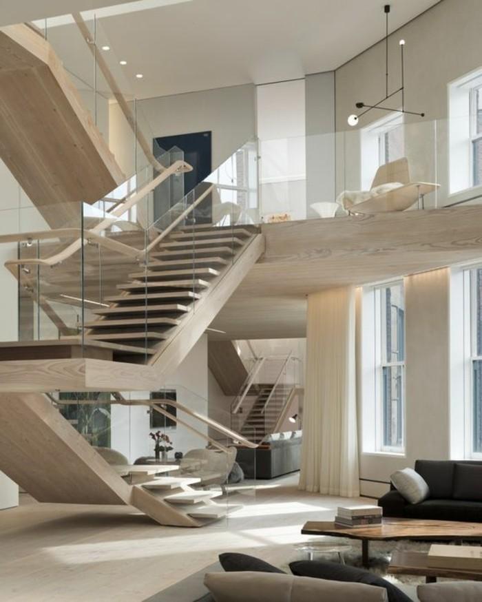 Glasgeländer-Treppe-holz-ideen