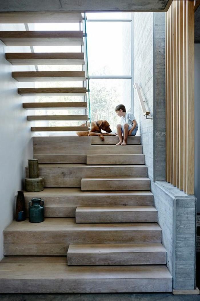 Glasgeländer-Treppe-holz-rustikal
