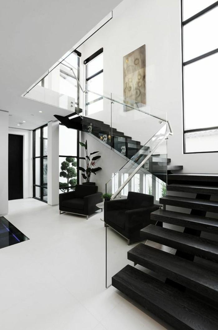 Glasgeländer-Treppe-schwarz-weiße-gestaltung