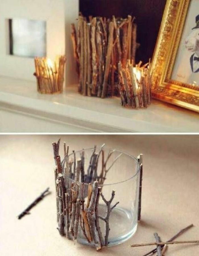 Kerzenhalter-basteln-Glas-hölzerne-Sticks