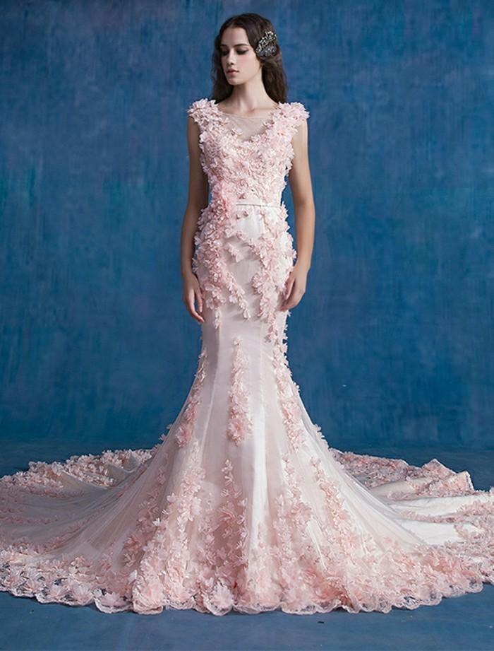 Rosa-Brautkleid-Meerjungfrau