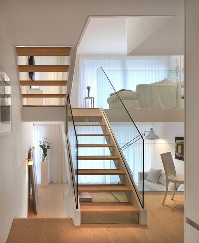 holz boden und decke modern interieur, treppe mit glasgeländer für schickes interieur - archzine, Design ideen