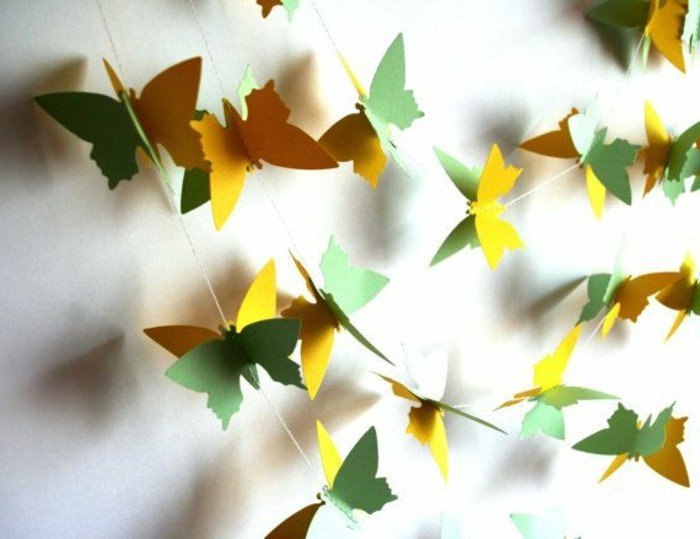 bastelideen-aus-papier-schmetterlinge-in-gelb-und-grün