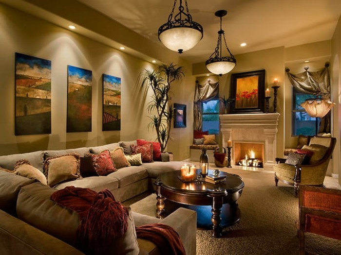 wohnzimmer wand beige:gemütliches ambiente im wohnzimmer – beige wohnideen – großes sofa