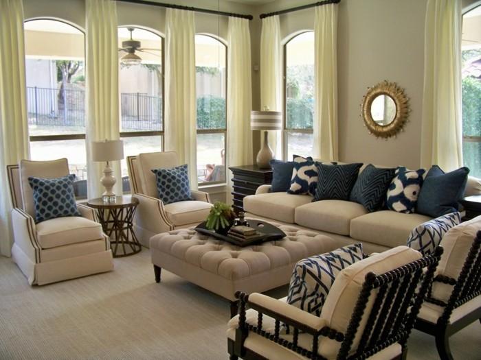schöne wohnzimmer farbe:elegantes wohnzimmer mit schönen blauen kissen – beige farbe überall