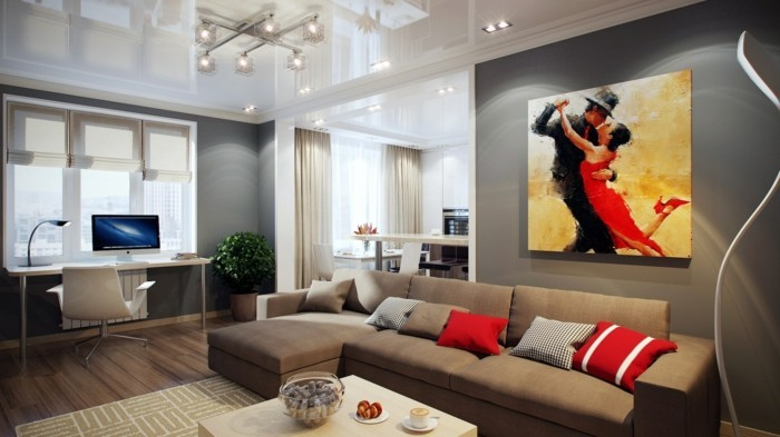 wohnzimmer wand beige:elegantes wohnzimmer mit beige sofa und roten kissen – schöne