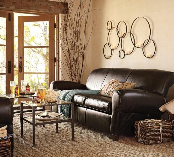 Dunkles Sofa Farbe Cappuccino Im Modernen Wohnzimmer