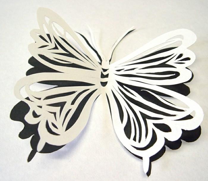 effektvolles-design-schmetterling-bastelideen-aus-papier-weiß-und-schwarz