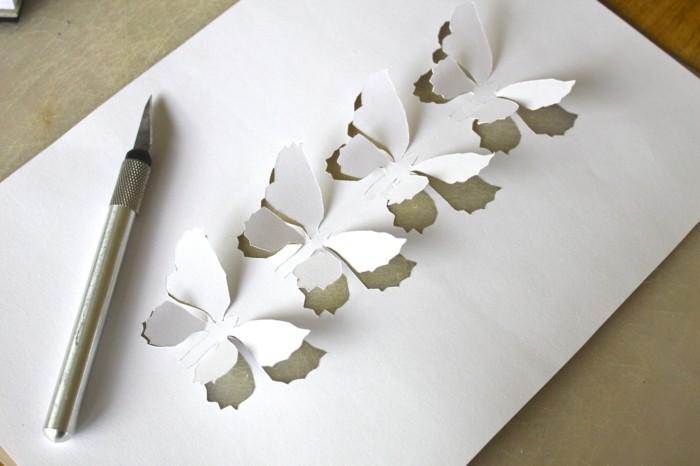 elegante-gestaltung-weiße-schmetterlinge-bastel-ideen-mit-papier