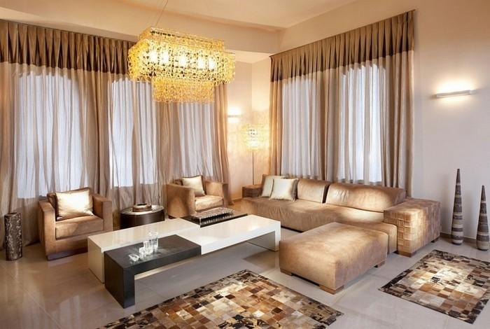 Wohnzimmer In Braun Und Türkis