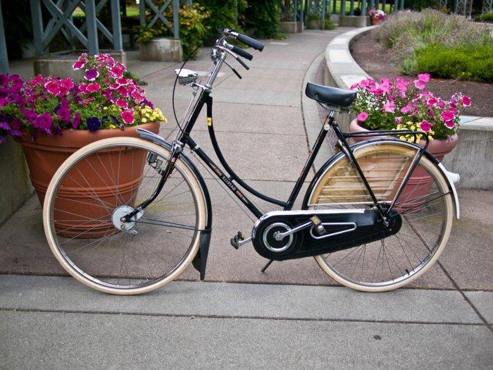 fantastische-Fotografie-retro-Fahrrad-zwischen-den-Blumenkörben