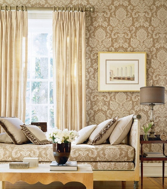Farbe Cappuccino Im Eleganten Wohnzimmer