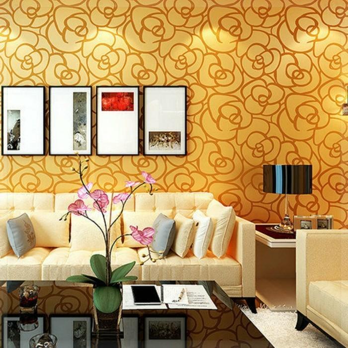 wohnzimmer wand beige:Knallige, goldene Nuancen und beige Inspirationen in einer herrlichen