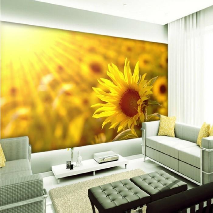 unikales wohnzimmer mit schönen fototapeten - blume motive