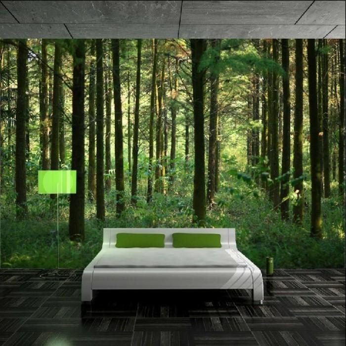 Schlafzimmer Gestalten Mit Fototapete : originelle wandtapeten mit wald motiven  modernes schlafzimmer