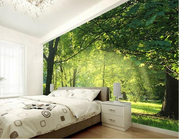 gemütliches-modell-schlafzimmer-fototapete-wald-motive
