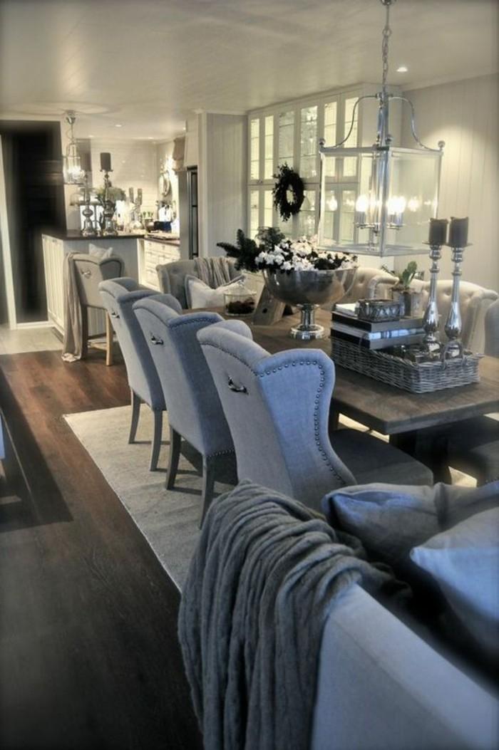graues-Esszimmer-Interieur-einzigartige-Dekoration-graue-Sessel-aus-Textil