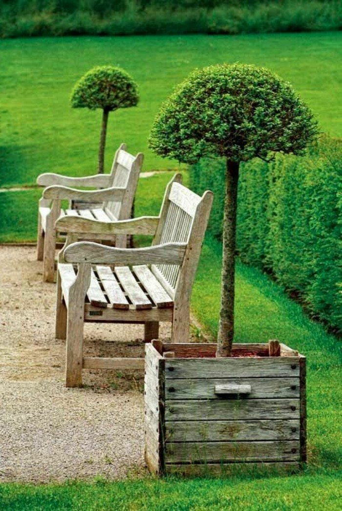 hölzerne-Gartenbänke-dekorative-Steine-viel-Gras
