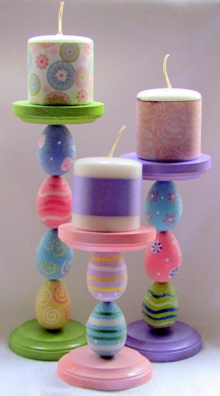 handgemachte-bunte-Kerzenhalter-aus-bemalten-hölzernen-Eiern