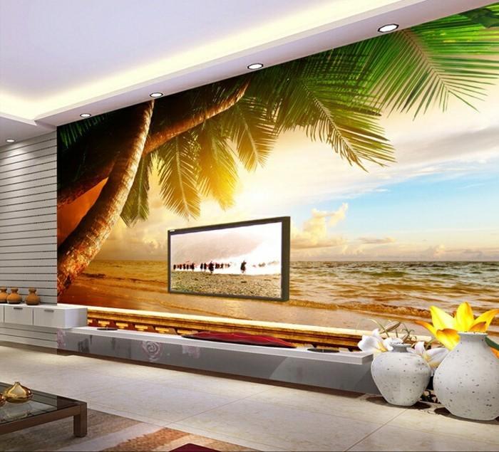 Herrliches Modell Fototapeten Exotische Gestaltung Modernes Wohnzimmer