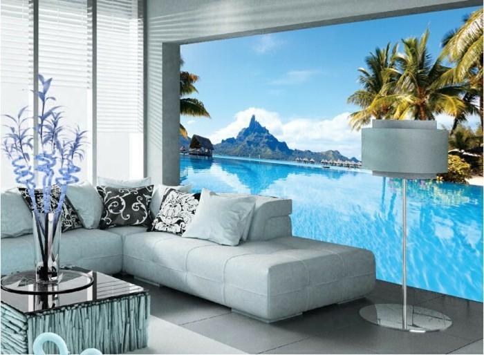 interessante-fototapeten-kreatives-modell-wohnzimmer-mit-weißem-sofa