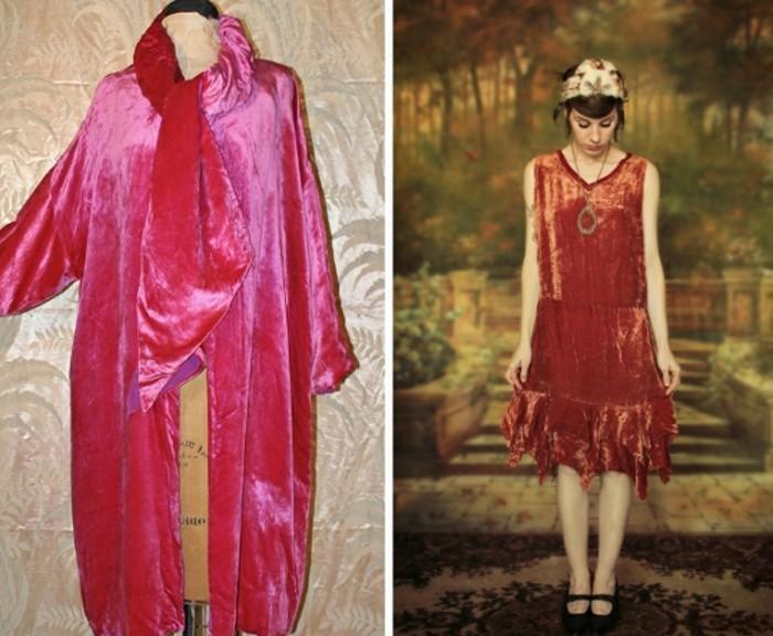 interessante-kleider-zwei-fotos-20er-jahre-mode-rosige-farbe