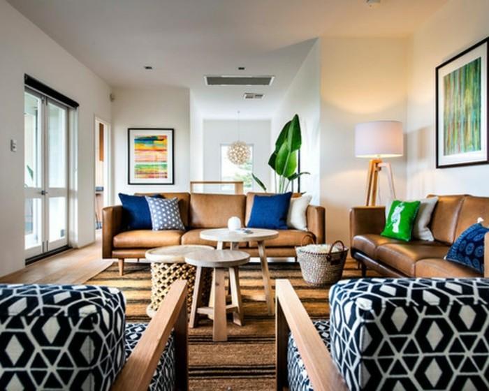interessantes-wohnzimmer-wohnzimmer-beige-gestalten-dunkle-möbel