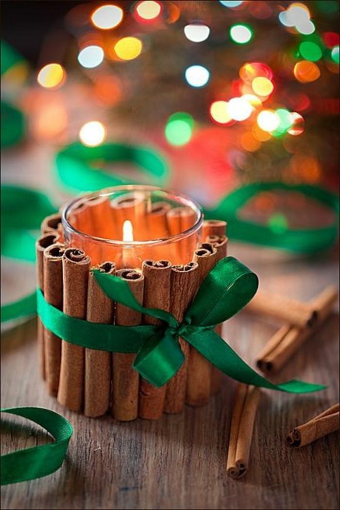 koketten-Teelichthalter-basteln-Glas-Zimt-Sticks-grünes-Band