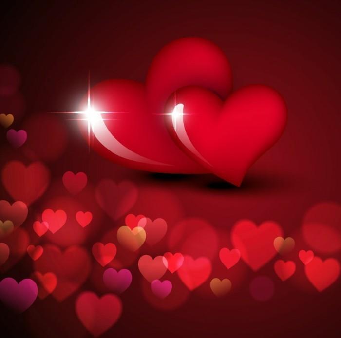 kostenlose-bilder-valentinstag-herrliche-gestaltung-zwei-glänzende-herzen