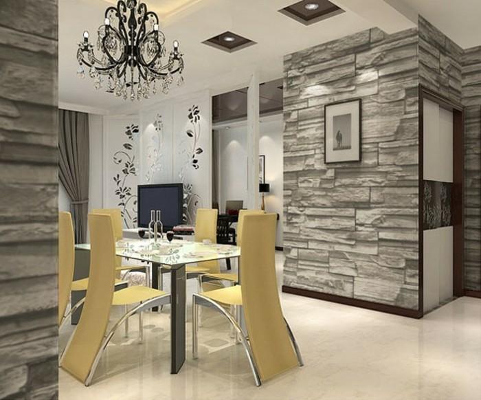 kreative-gestaltung-tapete-steinoptik-schönes-esszimmer